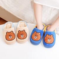 儿童拖鞋冬季室内保暖男童女童居家棉拖鞋卡通宝宝包跟2018新款