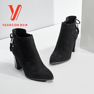 意尔康官方旗舰店女靴2017冬季新款时尚尖头高跟短筒靴韩版粗跟靴加绒踝靴