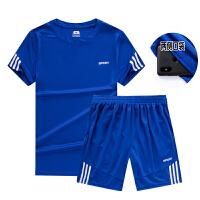 新款运动套装男士夏季跑步服短裤速干休闲衣健身房短袖T恤运动服