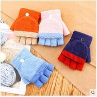 秋冬季儿童手套保暖半指翻盖冬季新款 男孩男童女孩中童可爱五指