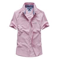 夏装新款吉普JEEP纯棉短袖衬衫 男士薄款半袖商务休闲衬衣 纯色