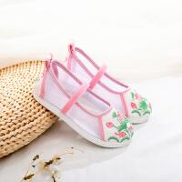 女童绣花鞋汉服鞋子夏凉鞋中国风老北京布鞋儿童女网鞋古装休闲鞋