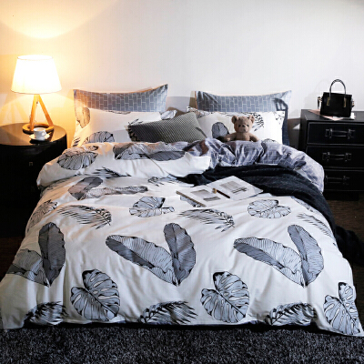 纯棉四件套 被子被套 全棉宿舍床上用品床单三件套床品套件  1.8m(6英尺) 床 适合200*230被子 枕套随机裁剪如有介意慎拍!