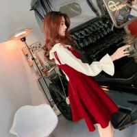 名媛小清新上衣配裙子两件套连衣裙修身红色2018新品 红色