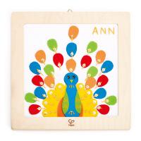 HapeDIY刺绣孔雀布贴画益智早教儿童玩具E5102