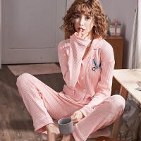 情侣睡衣春秋抽条纯棉长袖韩版两件套简约可爱薄款家居服可外穿