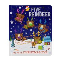 Five Reindeer 五只小驯鹿 圣诞主题 触摸 幼儿启蒙故事绘本原版