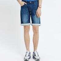 美特斯邦威牛仔裤男夏装男潮休闲舒适针织牛仔中裤255186