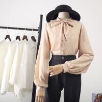 蝴蝶结加绒衬衫女长袖2018秋装新款chic雪纺衬衣灯笼袖上衣泡泡袖