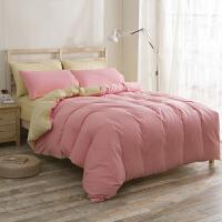 纯色素色双拼四件套套件简约夏秋床上用品三件套素色床单被套1.2/1.5/1.8床