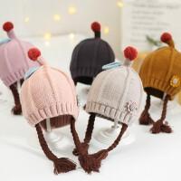 秋冬宝宝毛线帽子假发辫子保暖儿童女童婴儿女孩针织