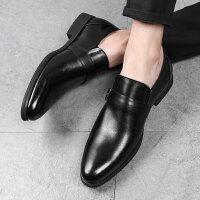 新款皮鞋男韩版潮流百搭英伦商务休闲鞋发型师潮男鞋男士休闲鞋 黑色