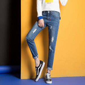 Modern idea2017春款哈伦宽松九分裤女式时尚牛仔裤经典百搭