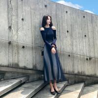 秋装女2018新款小香风网红俏皮女神范套装时尚针织毛衣裙子两件套 两件套