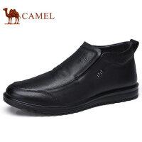 camel 骆驼男靴2017秋冬反绒牛皮雪地短靴加绒保暖时尚靴子男鞋