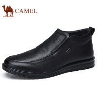 camel 骆驼男靴 秋冬反绒牛皮雪地短靴加绒保暖时尚靴子男鞋
