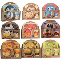 儿童餐具 正品yookidoo勺叉盘杯组合 婴幼儿竹纤维餐具套装
