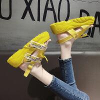 夏季时尚欧洲站女士凉鞋仙女风2019新款夏季百搭一字带厚底防滑不磨脚松糕沙滩罗马鞋