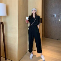 小香风套装女夏季韩版休闲长裤气质短袖小西装时尚网红两件套 2X