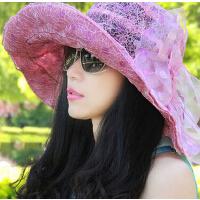 女士潮流遮阳帽沙滩帽 防紫外线女帽 户外桑蚕丝凉帽太阳纱帽