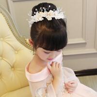 儿童头饰公主发饰女孩女童演出配饰头花发卡粉色发箍花童头饰白色