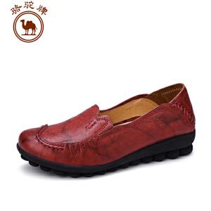 骆驼牌女鞋 春季 舒适鞋子女士浅口坡跟单鞋套脚低帮鞋耐磨