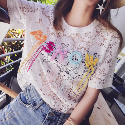 谜秀 纪念款定制短袖t恤女2017夏季新款韩版字母镂空蕾丝衫上衣店庆纪念款