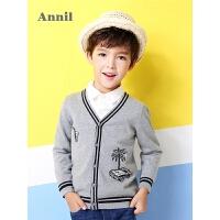 安奈儿童装男童针织外套年春装新款棉线开衫外衣EB814101