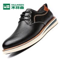 木林森男鞋  新品休闲皮鞋男透气潮英伦休闲鞋板鞋男士鞋子05367363