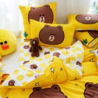 多喜爱布朗熊新品全棉加厚磨毛四件套卡通套件1.5m1.8m床上用品呆萌布朗