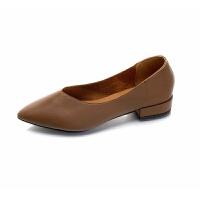 平底单鞋2019秋冬韩版休闲粗跟尖头一脚蹬低跟复古奶奶鞋时装鞋