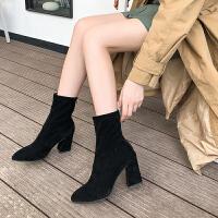 秋冬单靴尖头短靴高跟鞋粗跟弹力袜子靴女韩版马丁靴女后拉链