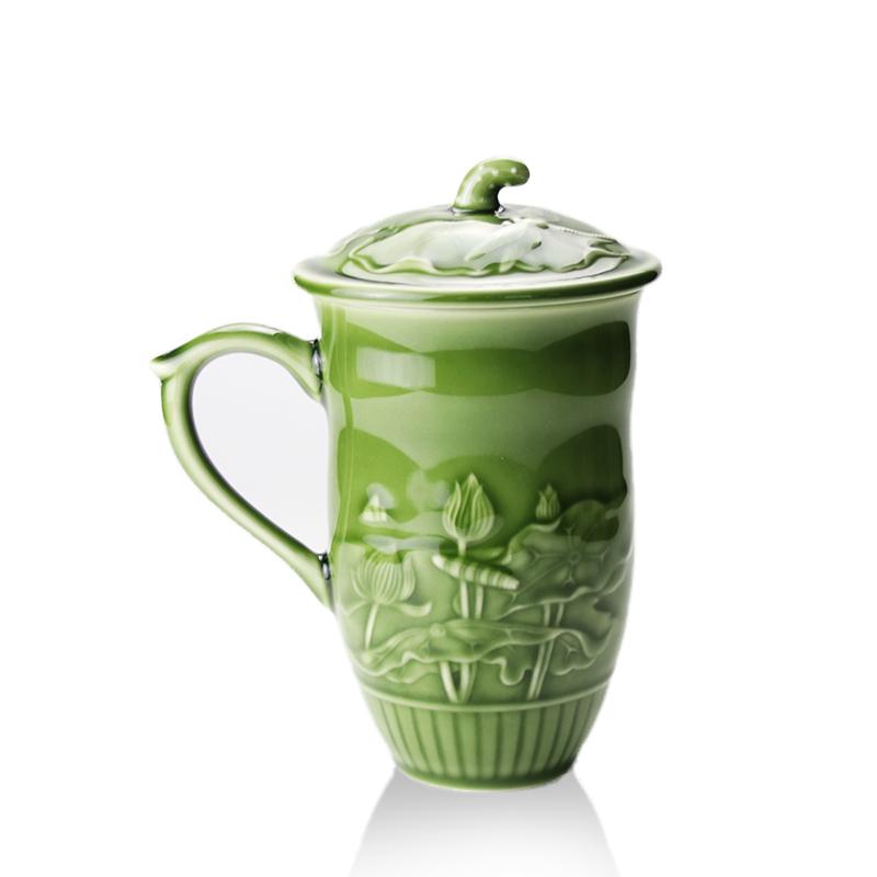 乾唐轩活瓷杯 蜻蜓夏荷高杯盖杯 高档陶瓷水杯子办公杯商务礼品杯