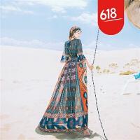 原创新品民族风复古显瘦雪纺印花飘逸连衣裙波西米亚沙漠度假沙滩长裙GH04 图片色