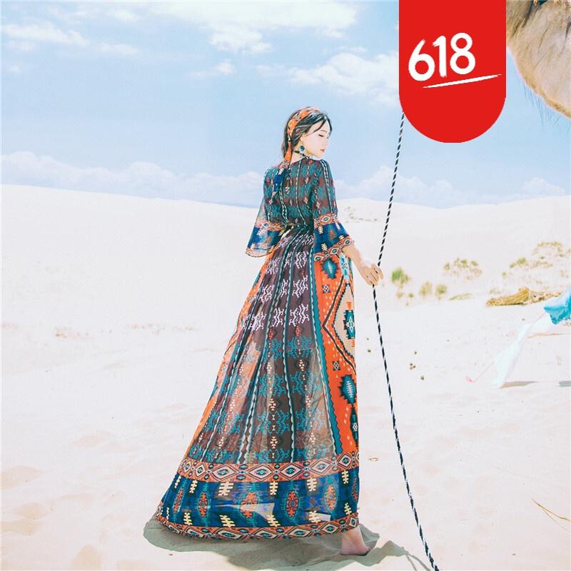 原创新品民族风复古显瘦雪纺印花飘逸连衣裙波西米亚沙漠度假沙滩长裙GH04 图片色 发货周期:一般在付款后2-90天左右发货,具体发货时间请以与客服协商的时间为准
