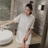 韩版长袖衬衫睡衣女中长款男友风白衬衣春秋季睡裙 白色