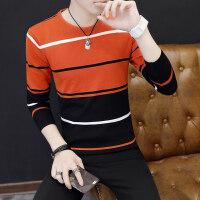 秋冬季新款男士长袖T恤 修身圆领上衣条纹打底衫男装毛衣潮流小衫