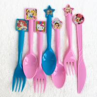孩派 节庆用品 礼品糖盒 儿童生日派对 一次性塑料女孩主题刀叉勺