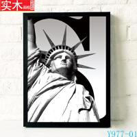 欧洲建筑 现代有框画 客厅黑白风格装饰画 挂画 家居壁画 三联画 43*63 白色画框 单价