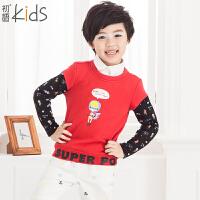 初语童装 冬季新款 男童卫衣 卡通拼接款卫衣 T5405210011
