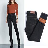 加绒牛仔裤女2018冬季高腰黑色小脚裤加厚保暖弹力大码带绒长裤子