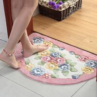 御目 地垫 玫瑰剪花半圆地垫门垫厨房卧室卫生间门口吸水地垫浴室防滑垫子