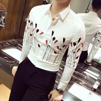 秋冬薄款衬衣男士修身长袖扣领尖领衬衫青年日常秋季韩版