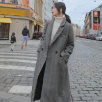 毛呢外套女中长款韩版2018新款秋冬流行大衣赫本小个子呢子外套厚 灰色 S