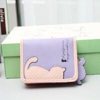 女生钱包短款奇尾猫波点印花女士钱包卡通零钱包猫咪短款钱包女