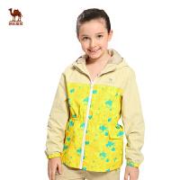 小骆驼童装春新款女童中大童连帽时尚印花外套中长款防风夹克