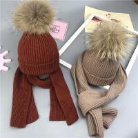 儿童帽子围巾套装冬宝宝保暖球球毛线帽男女童围巾两件套