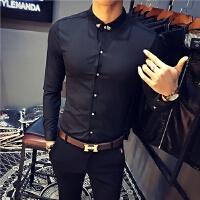 春男士修身长袖衬衣韩版绅士发型师西服内搭衬衫发型师KTV工作服