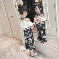 女童套装夏装2018新款韩版时尚潮童装儿童中大童12洋气雪纺两件套 白色(漏肩雪纺套装)