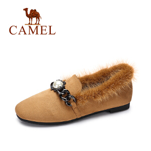 camel/骆驼女鞋冬季新款 简约保暖单鞋时尚金属装饰百搭舒适毛毛鞋